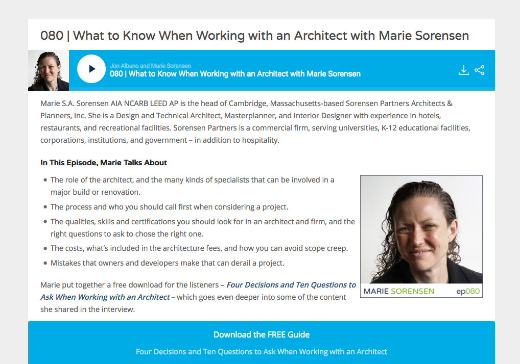 Listen to Marie S.A. Sorensen, AIA on the Lodging Leaders Podcast: What to Know when Working with an Architect